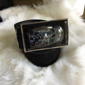 BOUTIQUE Black Genuine Suede Leather Belt